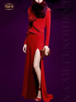 Đầm dạ hội đỏ xẻ tà sang trọng TV415