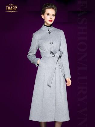 Áo khoác dạ ghi dáng váy cao cấp cổ trụ đẹp kèm đai TA432