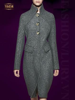 Áo khoác dạ ghi dáng kén (cocoon coat) cổ trụ 3 cúc tròn to cao cấp TA434