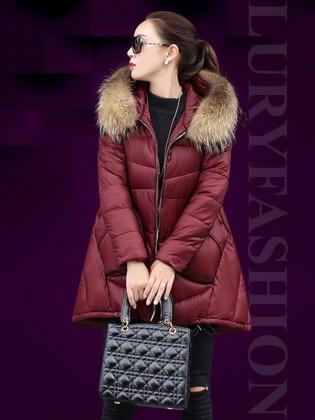 Áo phao nữ HQ dáng high-low cổ  phối lông chồn cao cấp TA101