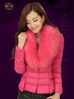 Áo phao nữ Hàn Quốc khuy cài cổ phối lông chồn cao cấp TA112