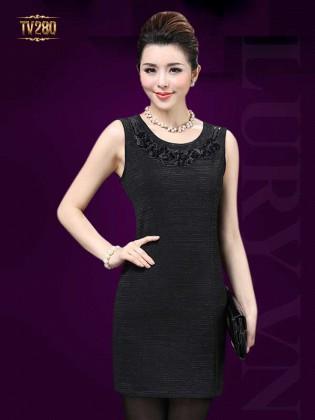 Đầm satin body cao cấp cổ phối viền hoa đẹp TV280