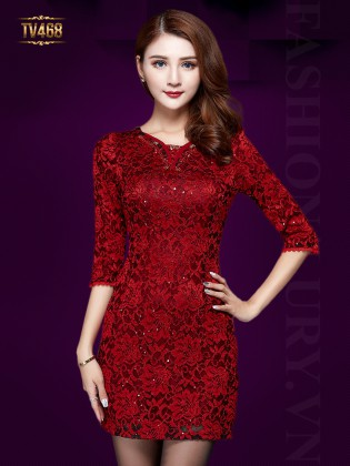 Đầm hoa ren đỏ tay lỡ cao cấp TV468