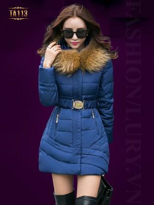 Áo phao nữ HQ dáng dài cổ phối lông chồn cao cấp kèm dây đai thời trang TA113