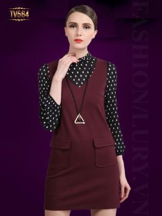 Đầm suông trơn hai túi phối tay chấm bi đẹp TV564 (Màu đỏ)