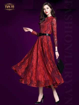 Đầm ren xòe dáng dài kèm đai đẹp TV570 (Màu đỏ)