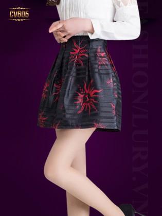 Chân váy xòe họa tiết hoa đỏ đẹp CV605