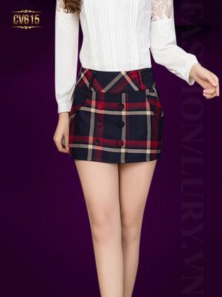 Chân váy kẻ caro 6 cúc đẹp CV615