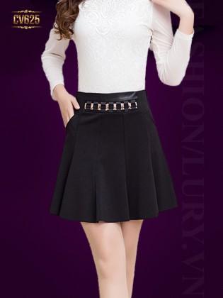Chân váy đen đai móc kim loại cao cấp CV625
