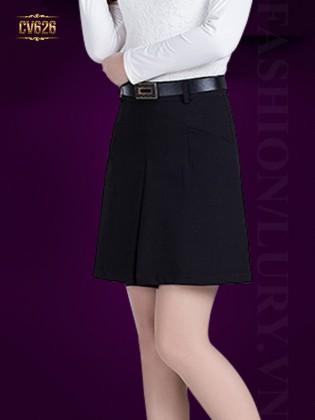 Chân váy đen chữ A kèm đai Hàn Quốc CV626 (Màu đen)