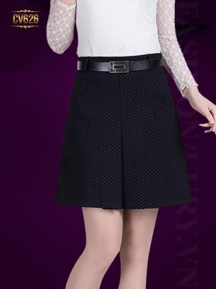 Chân váy đen chữ A kèm đai Hàn Quốc CV626 (Chấm bi)
