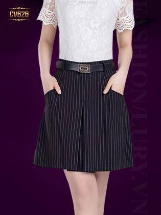 Chân váy đen chữ A kèm đai Hàn Quốc CV626 (Kẻ sọc)