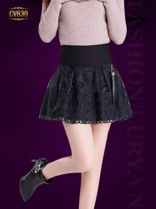 Chân váy ren họa tiết cạp cao CV630