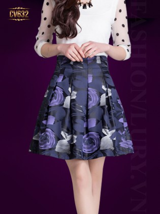 Chân váy midi xòe hoa tím cao cấp CV632
