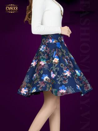 Chân váy midi họa tiết hoa cao cấp CV633