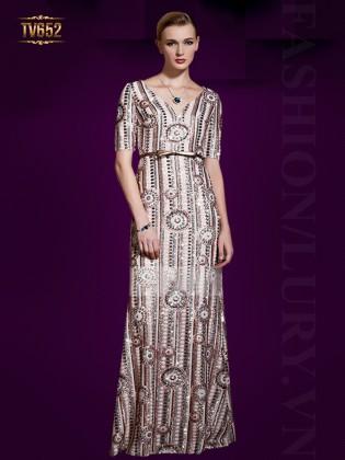 Đầm dạ hội thiết kế họa tay lưng tiết mới lạ cổ chữ V sâu TV652