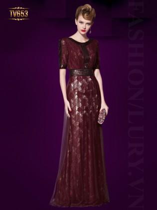 Đầm dạ hội hoa ren đỏ cao cấp phối viền nhũ đẹp TV653