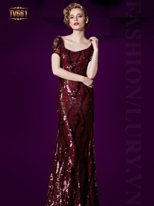 Đầm dạ hội đỏ tay ngắn đính kết hạt cao cấp TV661