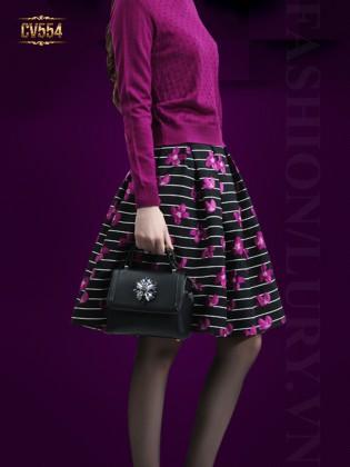 Chân váy kẻ hoa thời trang CV554