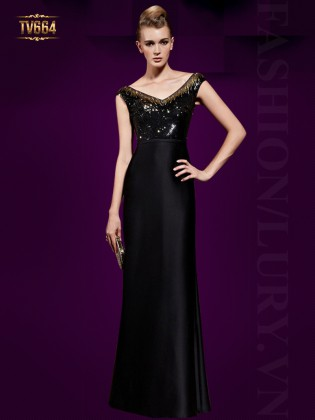 Đầm dạ hội đen thiết kế cổ chũ V sang trọng TV664