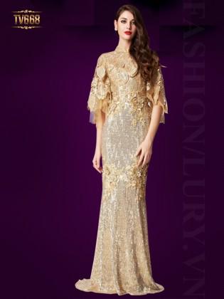 Đầm dạ hội ánh kim phối hoa ren cao cấp TV668