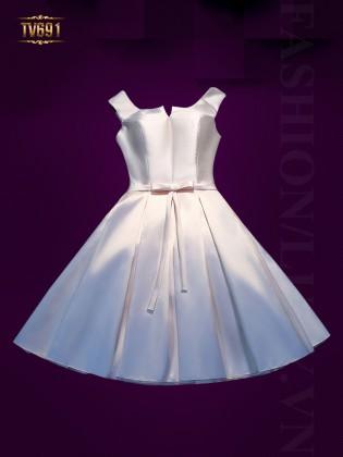 Đầm dạ hội dáng xòe xếp ly nơ eo cao cấp TV691-2