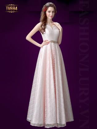 Đầm dạ hội hồng dáng dài cổ xẻ kèm đai cao cấp TV694