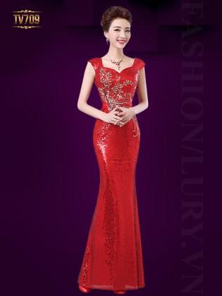 Đầm dạ hội đuôi cá kết đính họa tiết sang trọng TV709 (Màu đỏ)