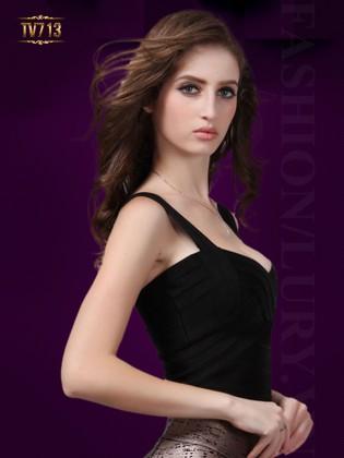 Áo cúp ngực hai dây dáng dài thời trang TV713 (Màu đen)