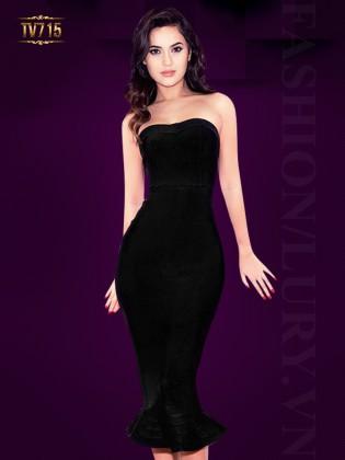Đầm body đuôi cá cúp ngực đơn sắc cao cấp ( dáng ngắn ) TV715 (Màu đen)