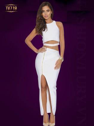 Đầm body cutout đơn sắc xẻ tà quyến rũ TV719 (Màu trắng)