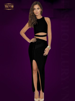 Đầm body cutout đơn sắc xẻ tà quyến rũ TV719 (Màu đen)