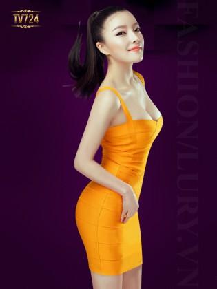 Đầm hai dây cúp ngực đơn sắc thời trang TV724 (Vàng nghệ)