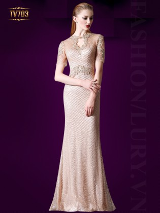 Đầm dạ hội ren cao cấp đính viền hoa gợi cảm TV703