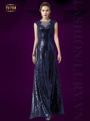 Đầm dạ hội cách điệu đính đá hạt sang trọng TV704