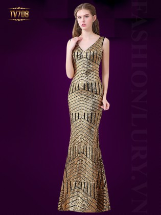 Đầm dạ hội đuôi cá thân váy kết cườm cao cấp TV708