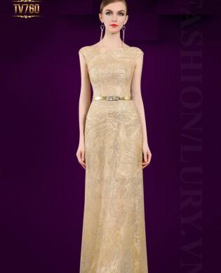 Đầm dạ hội đính kết cườm cao cấp đai đính đá sang trọng TV760