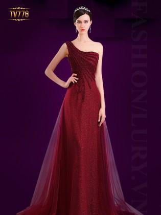 Đầm dạ hội sequin lệch vai phối lưới lưng kết cườm đẹp TV776