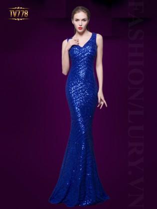 Đầm dạ hội họa tiết sequin cao cấp lưng phối lưới quyến rũ TV778 (Xanh coban)