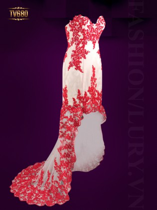 Đầm dạ hội ren cúp ngực đính hoa đỏ sang trọng TV680