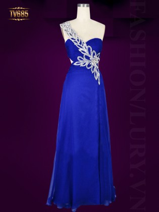 Đầm cúp ngực lệch vai màu xanh xẻ tà quyến rũ TV685