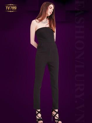 Jumpsuit dài ống đứng với thiết kế áo quây quyến rũ TV789 (Màu đen)