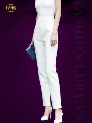 Jumpsuit dài ống đứng với thiết kế áo quây quyến rũ TV789 (Màu trắng)