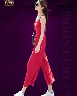 Jumpsuit hai dây dáng dài hở lưng quyến rũ TV790 (Màu đỏ)