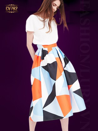 Chân váy midi dáng dài họa tiết phối màu thời trang CV792