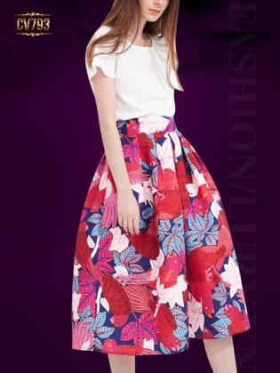 Chân váy midi dáng dài họa tiết hoa nhiệt đới nền đỏ cao cấp CV793