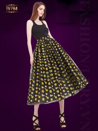 Chân váy midi dáng dài họa tiết bông vàng nền đen thời trang TV794