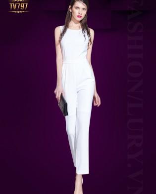 Jumpsuit trắng dáng dài khoét lưng quyến rũ TV797