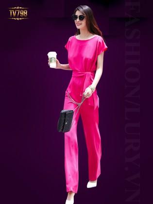 Jumpsuit hồng dáng dài quyến rũ TV798 (Màu hồng)
