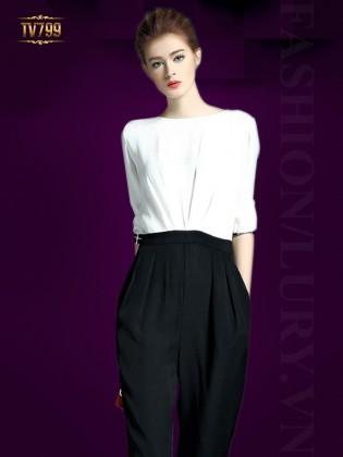Jumpsuit thiết kế sơ mi trắng phối quần harem cao cấp TV799
